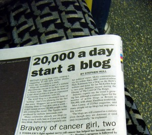 Britian Going Blog Crazy - Metro Article by Annie Mole